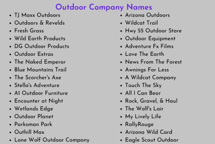 Outdoor Company Names