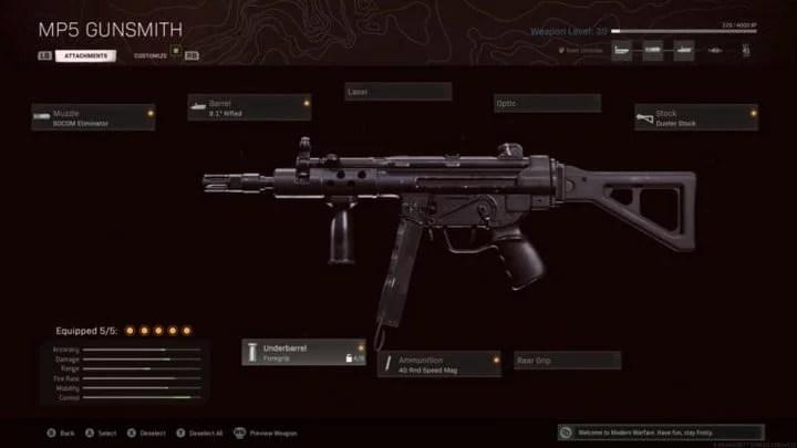 MP5 para zona de guerra