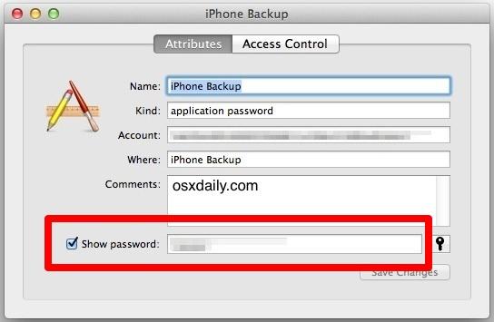 iTunes Backup Password