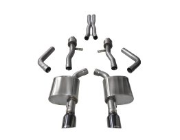 2.75 Inch Cat-Back Sport Dual Rear Exit Exhaust 4.5 Inch Black Tips 15-Present Dodge Charger SRT 392/R/T Scat Pack/SRT Hellcat 6.2L/6.4L V8 Stainless Steel Corsa Performance