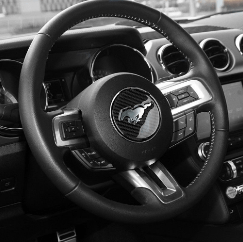 Real Carbon Fiber Steering Wheel Cover | 2015-2020 Ford Mustang