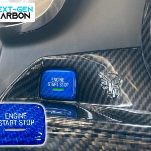 Blue Carbon Fiber Push Start Button Cover | 2016-2021 Chevy Camaro/2014-2019 Corvette C7