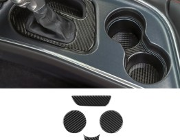 Carbon Fiber Cup Holder Gear Covers | 2015-2020 Dodge Challenger