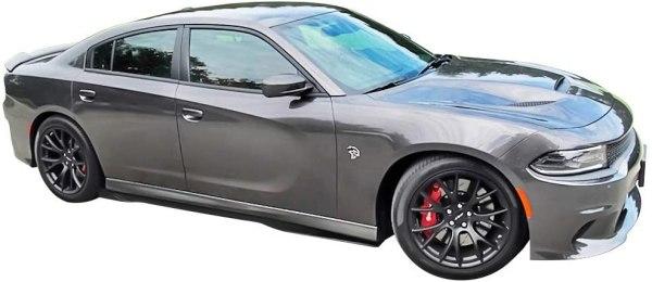 Gloss Black Ikon SRT Side Skirts   2015-2021 Dodge Charger SRT