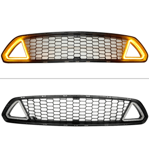 Black Front Upper Grille W/ LED Lights | 2015-2017 Ford Mustang