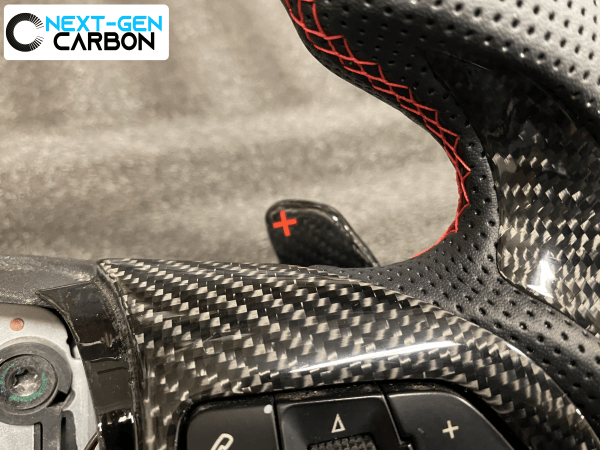 Custom Carbon Fiber Steering Wheel (Red Accents/Perforated Leather) | 2013-15 Chevy Camaro