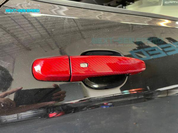 Red Carbon Fiber Door Handle Covers | 2016 – 2021 Chevy Camaro