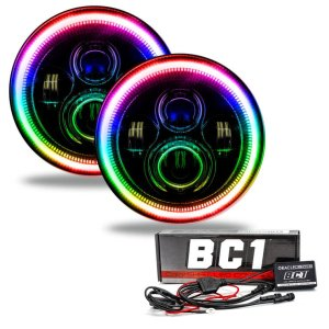 Oracle 7″ RGB Flow Series Halo Headlights Dynamic Color Shift | Jeep Wrangler/Gladiator JL/JT