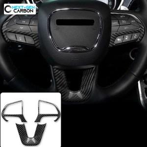 Carbon Fiber Steering Wheel Trim Cover Kit   2015-2021 Dodge Challenger/Charger/Durango