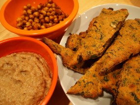 babaganoush, toasted garbanzos, puttanesca bread sticks