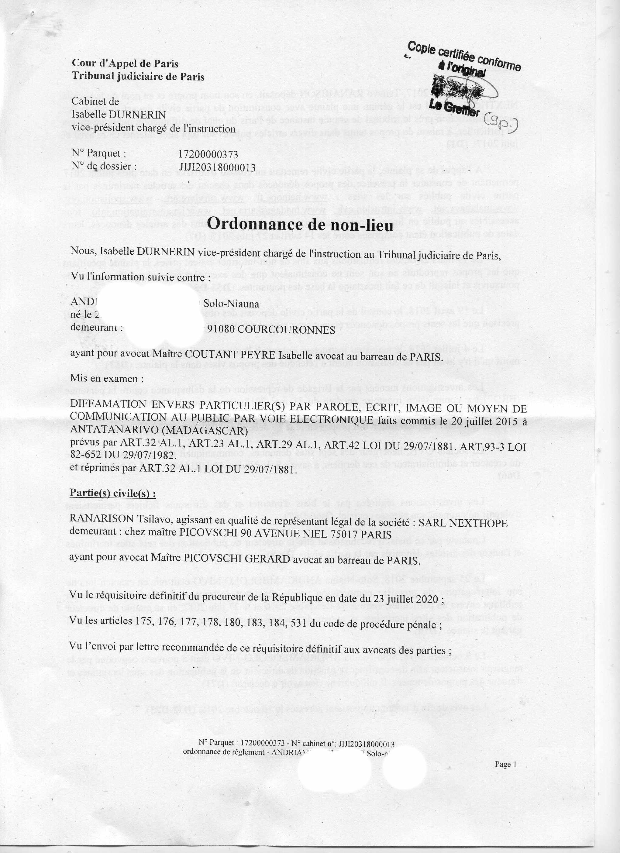 NEXTHOPE RANARISON Tsilavo ont été déboutés de leur plainte pour diffamation par le TGI de Paris