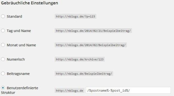 Wordpress Permalinks - Gebräuchliche Einstellungen