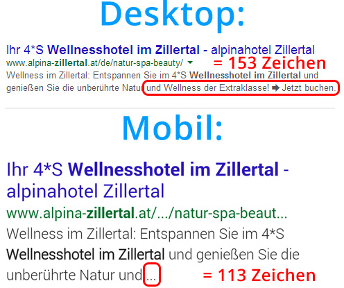Meta Description: Desktop vs. Mobile Suchergebnisse