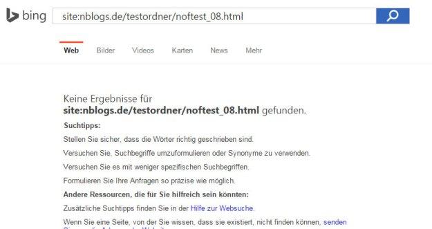 SEO Nofollow Test: Bing gibt kein Suchergebnis auf der Desktop-Suche aus