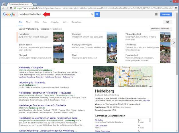 Google Carousel-Suchergebnis nach Klick auf Heidelberg