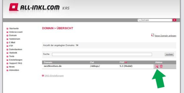 All-Inkl.com Let's Encrypt Zertifizierung vornehmen - Domain bearbeiten
