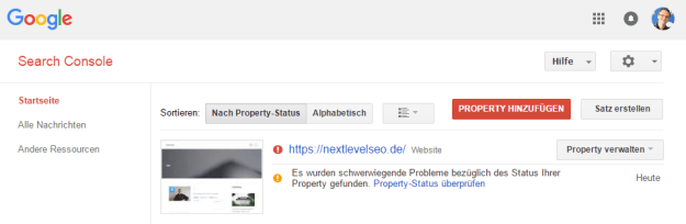 Google Search Console zeigt Property Fehler nach 2 1/2 Tagen
