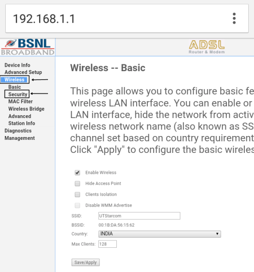 Change Wi-Fi Password on BSNL UTstarcom Router