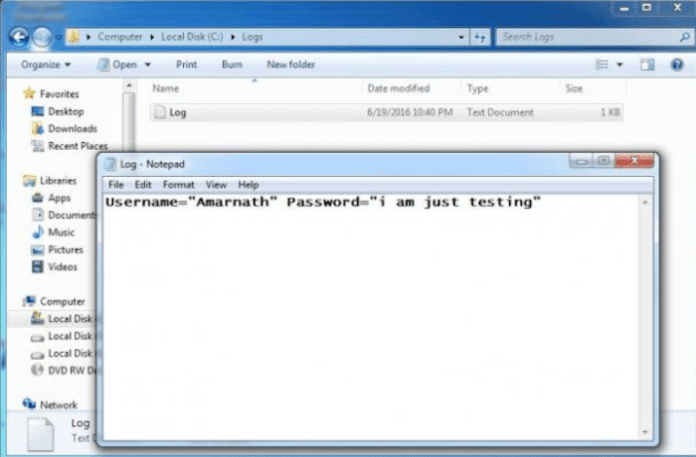 how to create a keylogger that sends emails
