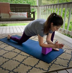 supported lunge with yoga block