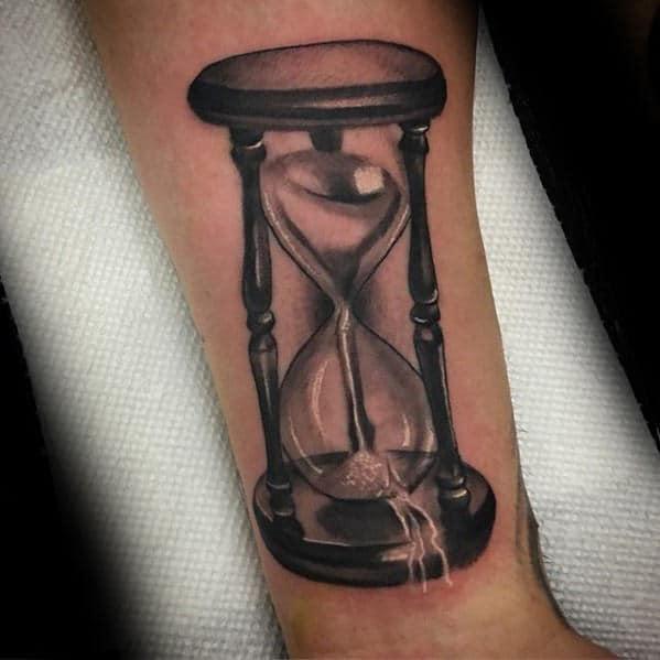 3d Shaded Broken Hourglass Sand Mens Arm Tattoo