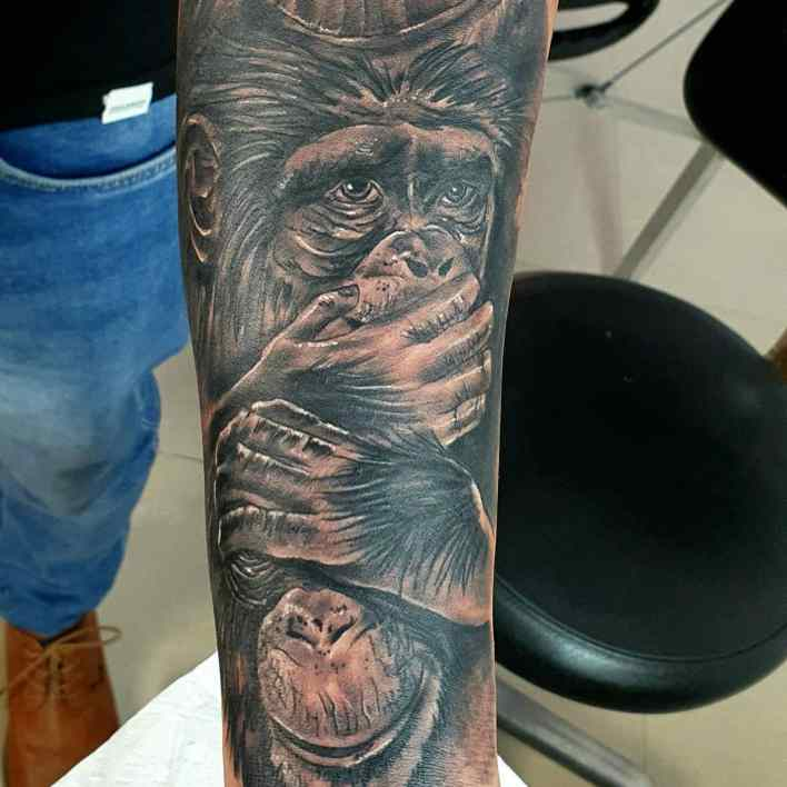 Monkey Forearm Tattoo -sergiotattoos