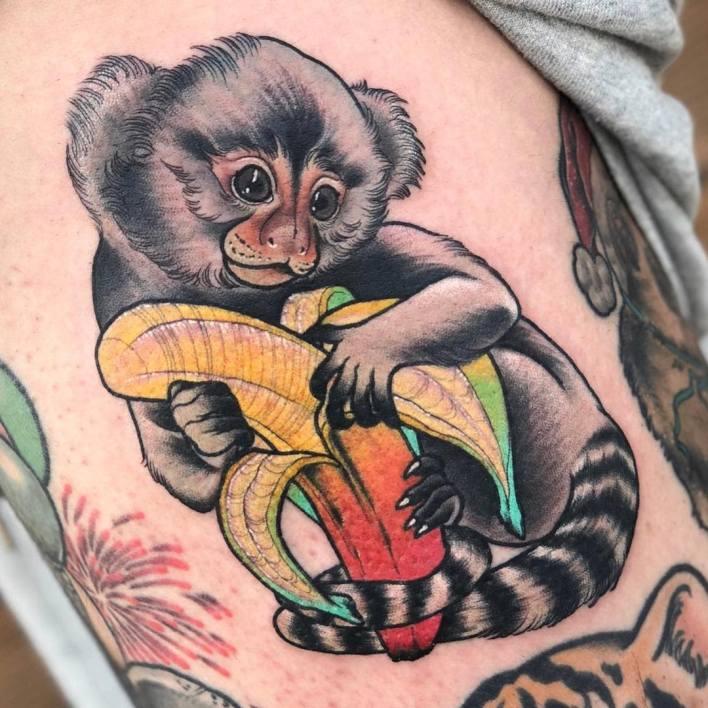 Neo Traditional Monkey Tattoo -allday_jina