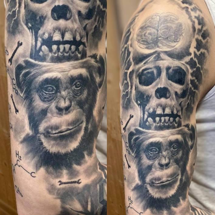 Realistic Monkey Tattoo -auseklis_studija