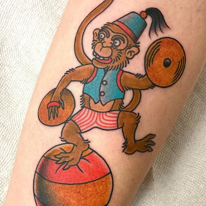 Traditional Monkey Tattoo -mikereedtattoo