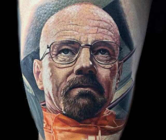 Amazing Male Breaking Bad Tattoo On Thigh