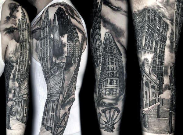 90 Building Tattoos For Men Architecture Ink Design Ideas