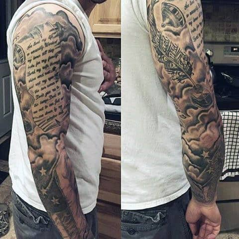 60 Scroll Tattoos For Men - Manly Paper Design Ideas