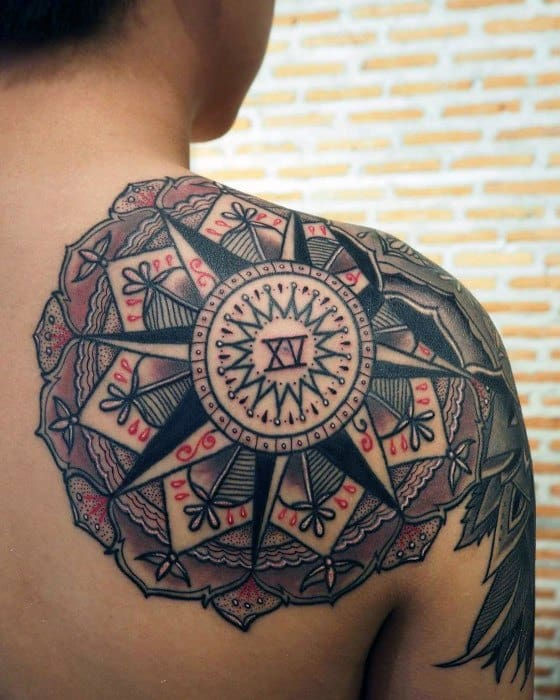 Artistic Male Mandala Tattoo Ideas On Shoulder Blade