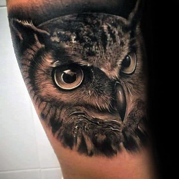 Black And White Owl Tattoo Sketch