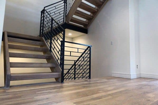 Top 70 Best Stair Railing Ideas Indoor Staircase Designs | Black Metal Handrail For Stairs | Rod Iron | Metal Railing | Iron Pipe | Natural Wood | Artistic