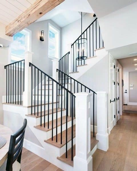 Top 70 Best Stair Railing Ideas Indoor Staircase Designs | Interior Iron Stair Railing | Minimalist Simple Stair | Fancy | Staircase | Residential | Stair Outside
