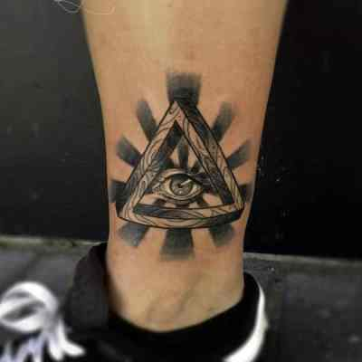 Black Rays Illuminati Tattoo Male Ankles