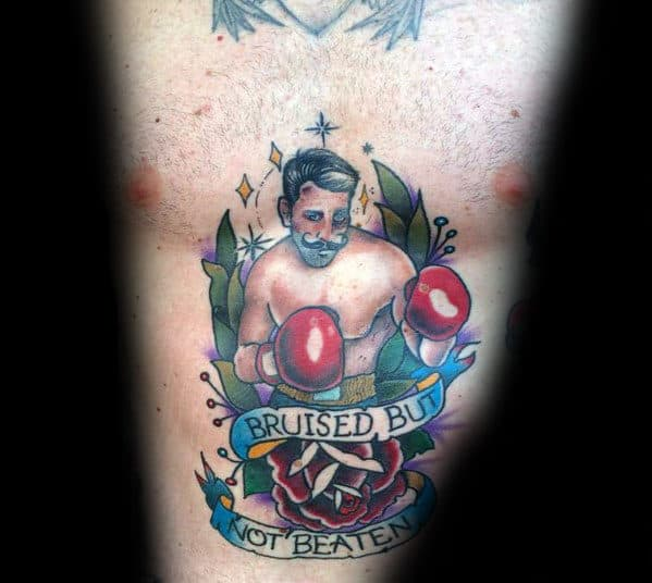 50 Traditional Boxer Tattoo Designs For Men Retro Boxing