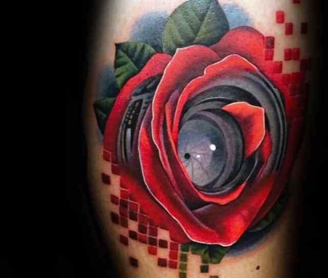 Camera Lens Realistic Mens Rose Flower Arm Tattoos