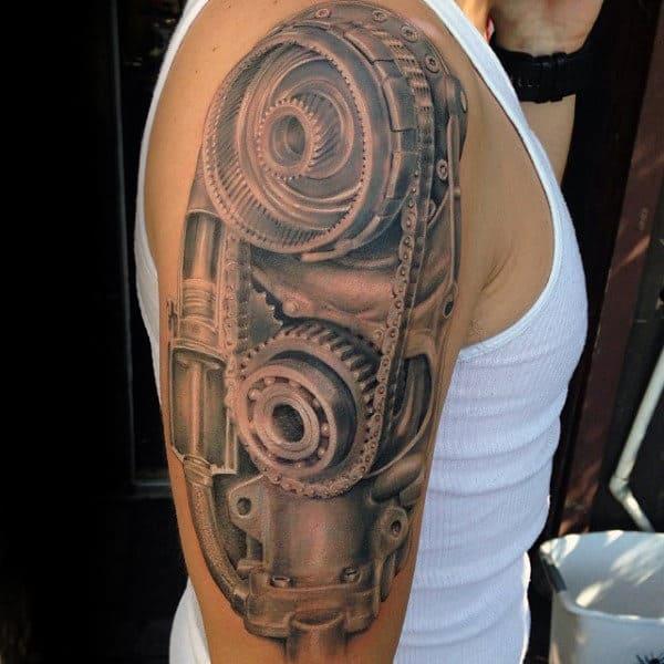 50 Engine Tattoos For Men Motor Design Ideas