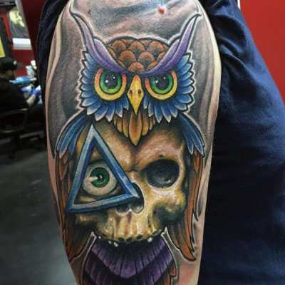 Colorful Owl Skull Illuminati Tattoo Male Arms