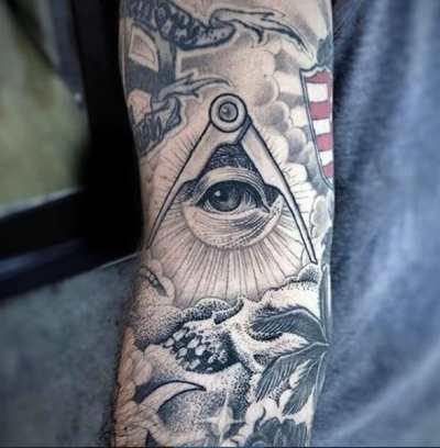 Compass And Illuminati Tattoo Male Forearms