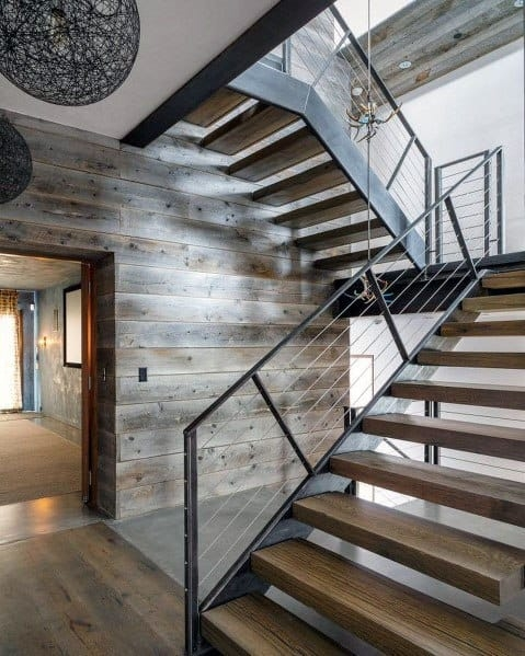 Top 70 Best Stair Railing Ideas Indoor Staircase Designs   Contemporary Banisters And Handrails   Outdoor Stair   Glass   Picket   Rustic   Traditional