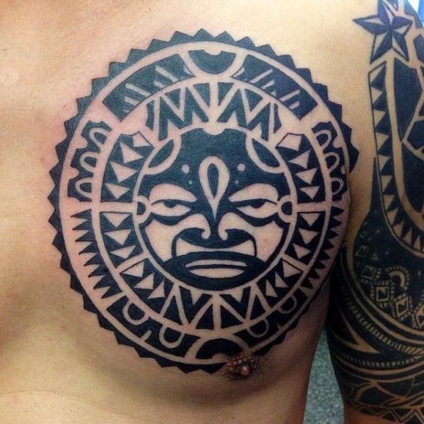Cool Tribal Sun Circle Mens Hawaaian Tattoo On Chest