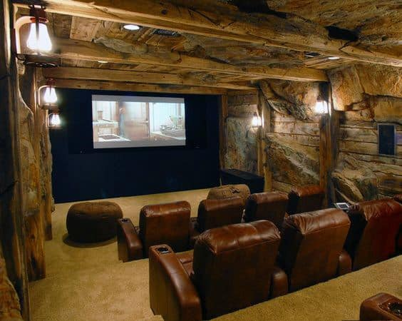 80 Home Theater Design Ideas For Men   Movie Room Retreats Cool Underground Home Theater Decor With Brown Leather Seating