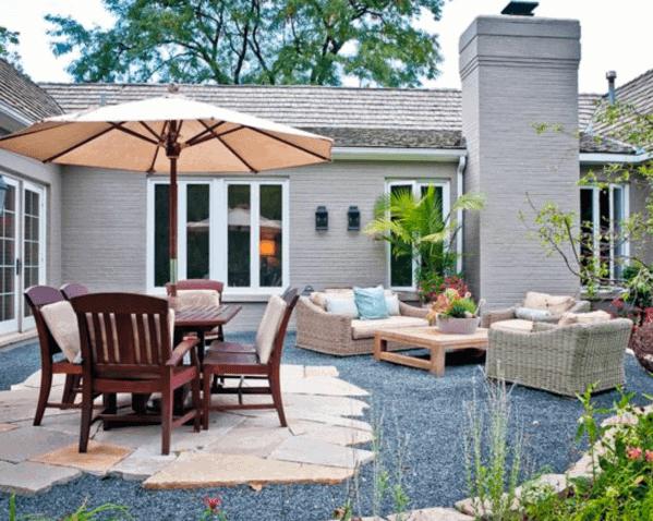 Flagstone Gravel Patio Backyard Ideas