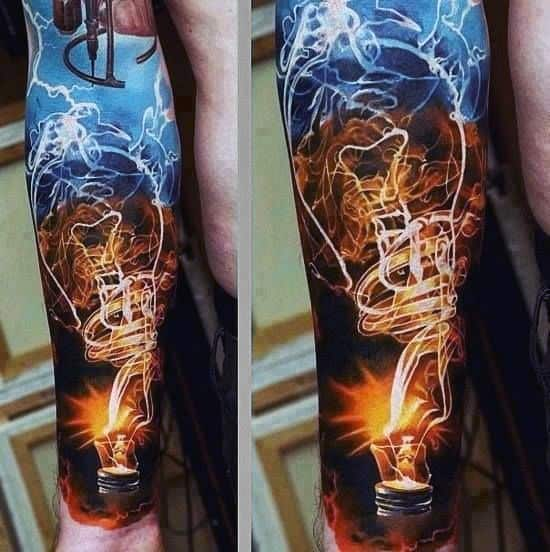 Forearm Sleeve Light Bulb Tattoos For Men