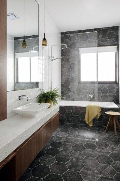 bathroom design black floor tiles