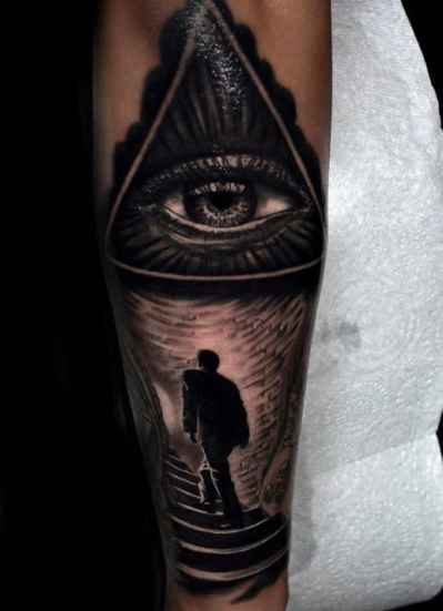 Guys Sleeves Shiny Grey Illuminati Tattoo