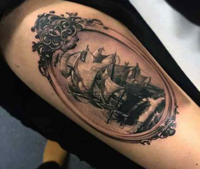 Guys Small Tattoos Of Pirate Ships On Thigh